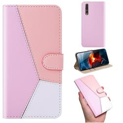 Tricolour Stitching Wallet Flip Cover for Huawei P20 Pro - Pink