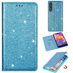 Ultra Slim Glitter Powder Magnetic Automatic Suction Leather Wallet Case for Huawei P20 Pro - Blue