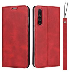 Calf Pattern Magnetic Automatic Suction Leather Wallet Case for Huawei P20 Pro - Red