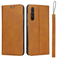 Calf Pattern Magnetic Automatic Suction Leather Wallet Case for Huawei P20 Pro - Brown