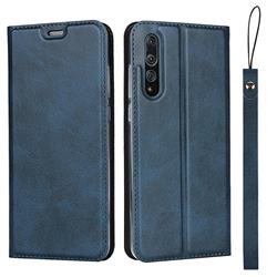 Calf Pattern Magnetic Automatic Suction Leather Wallet Case for Huawei P20 Pro - Blue