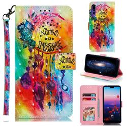 Flower Wind Chimes 3D Painted Leather Phone Wallet Case for Huawei P20 Pro