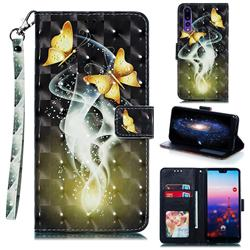 Dream Butterfly 3D Painted Leather Phone Wallet Case for Huawei P20 Pro