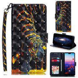 Tiger Totem 3D Painted Leather Phone Wallet Case for Huawei P20 Pro