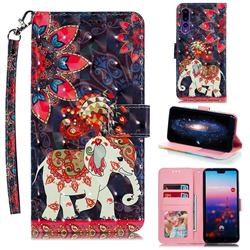 Phoenix Elephant 3D Painted Leather Phone Wallet Case for Huawei P20 Pro