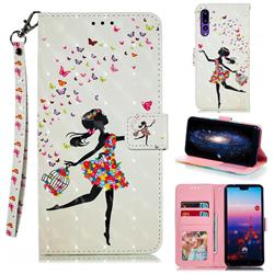 Flower Girl 3D Painted Leather Phone Wallet Case for Huawei P20 Pro