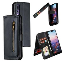 Multifunction 9 Cards Leather Zipper Wallet Phone Case for Huawei P20 Pro - Black