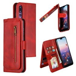 Multifunction 9 Cards Leather Zipper Wallet Phone Case for Huawei P20 Pro - Red