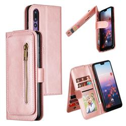 Multifunction 9 Cards Leather Zipper Wallet Phone Case for Huawei P20 Pro - Rose Gold