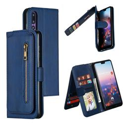 Multifunction 9 Cards Leather Zipper Wallet Phone Case for Huawei P20 Pro - Blue