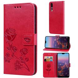 Embossing Rose Flower Leather Wallet Case for Huawei P20 Pro - Red