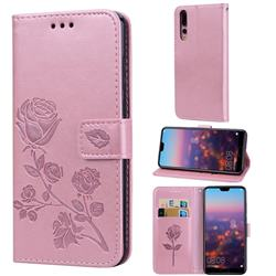 Embossing Rose Flower Leather Wallet Case for Huawei P20 Pro - Rose Gold