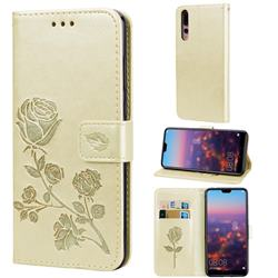 Embossing Rose Flower Leather Wallet Case for Huawei P20 Pro - Golden