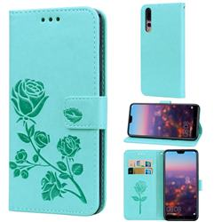 Embossing Rose Flower Leather Wallet Case for Huawei P20 Pro - Green