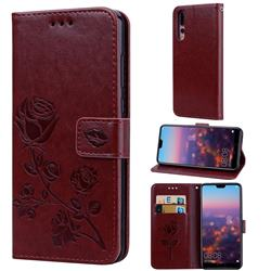 Embossing Rose Flower Leather Wallet Case for Huawei P20 Pro - Brown
