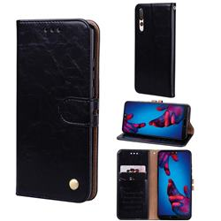 Luxury Retro Oil Wax PU Leather Wallet Phone Case for Huawei P20 Pro - Deep Black
