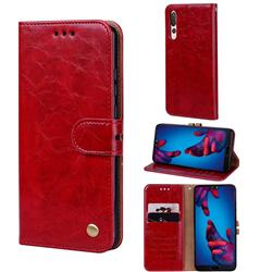 Luxury Retro Oil Wax PU Leather Wallet Phone Case for Huawei P20 Pro - Brown Red