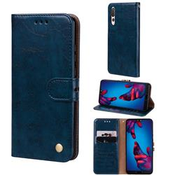 Luxury Retro Oil Wax PU Leather Wallet Phone Case for Huawei P20 Pro - Sapphire