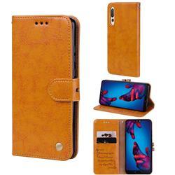 Luxury Retro Oil Wax PU Leather Wallet Phone Case for Huawei P20 Pro - Orange Yellow