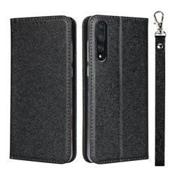 Ultra Slim Magnetic Automatic Suction Silk Lanyard Leather Flip Cover for Huawei P20 Pro - Black