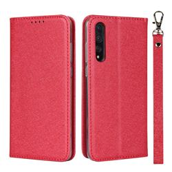 Ultra Slim Magnetic Automatic Suction Silk Lanyard Leather Flip Cover for Huawei P20 Pro - Red