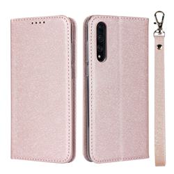 Ultra Slim Magnetic Automatic Suction Silk Lanyard Leather Flip Cover for Huawei P20 Pro - Rose Gold