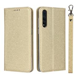 Ultra Slim Magnetic Automatic Suction Silk Lanyard Leather Flip Cover for Huawei P20 Pro - Golden