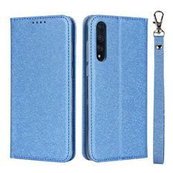 Ultra Slim Magnetic Automatic Suction Silk Lanyard Leather Flip Cover for Huawei P20 Pro - Sky Blue