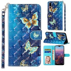 Rankine Butterfly 3D Leather Phone Holster Wallet Case for Huawei P20 Pro