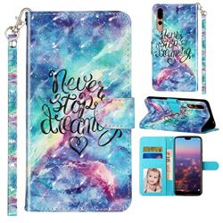 Blue Starry Sky 3D Leather Phone Holster Wallet Case for Huawei P20 Pro