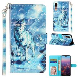Snow Wolf 3D Leather Phone Holster Wallet Case for Huawei P20 Pro