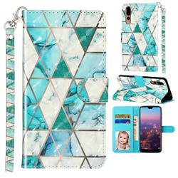 Stitching Marble 3D Leather Phone Holster Wallet Case for Huawei P20 Pro