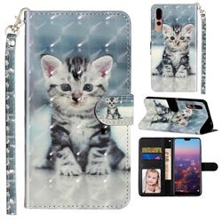Kitten Cat 3D Leather Phone Holster Wallet Case for Huawei P20 Pro