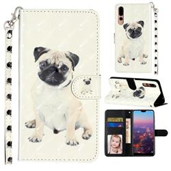Pug Dog 3D Leather Phone Holster Wallet Case for Huawei P20 Pro