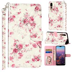 Rambler Rose Flower 3D Leather Phone Holster Wallet Case for Huawei P20 Pro