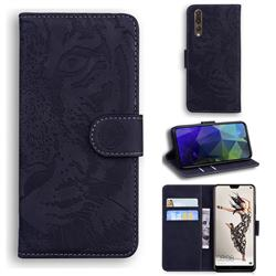 Intricate Embossing Tiger Face Leather Wallet Case for Huawei P20 Pro - Black
