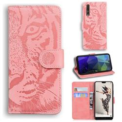 Intricate Embossing Tiger Face Leather Wallet Case for Huawei P20 Pro - Pink