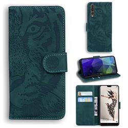 Intricate Embossing Tiger Face Leather Wallet Case for Huawei P20 Pro - Green