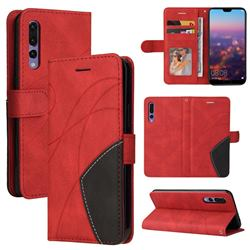Luxury Two-color Stitching Leather Wallet Case Cover for Huawei P20 Pro - Red