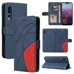 Luxury Two-color Stitching Leather Wallet Case Cover for Huawei P20 Pro - Blue