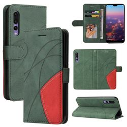 Luxury Two-color Stitching Leather Wallet Case Cover for Huawei P20 Pro - Green
