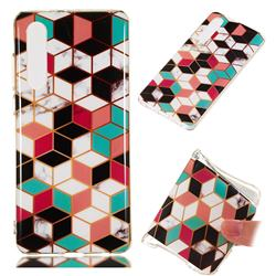 Three-dimensional Square Soft TPU Marble Pattern Phone Case for Huawei P30