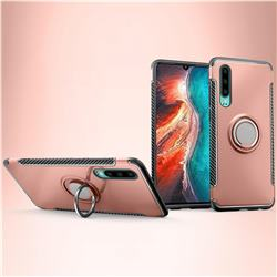 Armor Anti Drop Carbon PC + Silicon Invisible Ring Holder Phone Case for Huawei P30 - Rose Gold