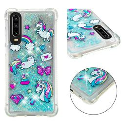 Fashion Unicorn Dynamic Liquid Glitter Sand Quicksand Star TPU Case for Huawei P30