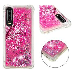 Pink Cherry Blossom Dynamic Liquid Glitter Sand Quicksand Star TPU Case for Huawei P30