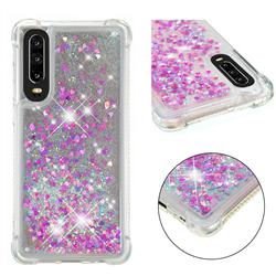 Dynamic Liquid Glitter Sand Quicksand Star TPU Case for Huawei P30 - Rose