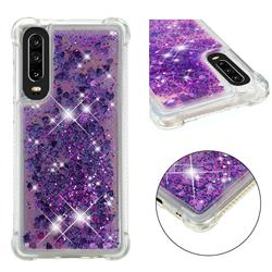 Dynamic Liquid Glitter Sand Quicksand Star TPU Case for Huawei P30 - Purple