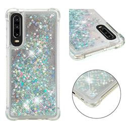 Dynamic Liquid Glitter Sand Quicksand Star TPU Case for Huawei P30 - Silver