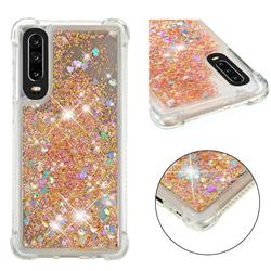 Dynamic Liquid Glitter Sand Quicksand Star TPU Case for Huawei P30 - Diamond Gold