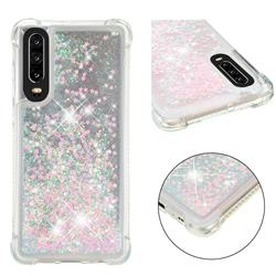 Dynamic Liquid Glitter Sand Quicksand TPU Case for Huawei P30 - Silver Powder Star